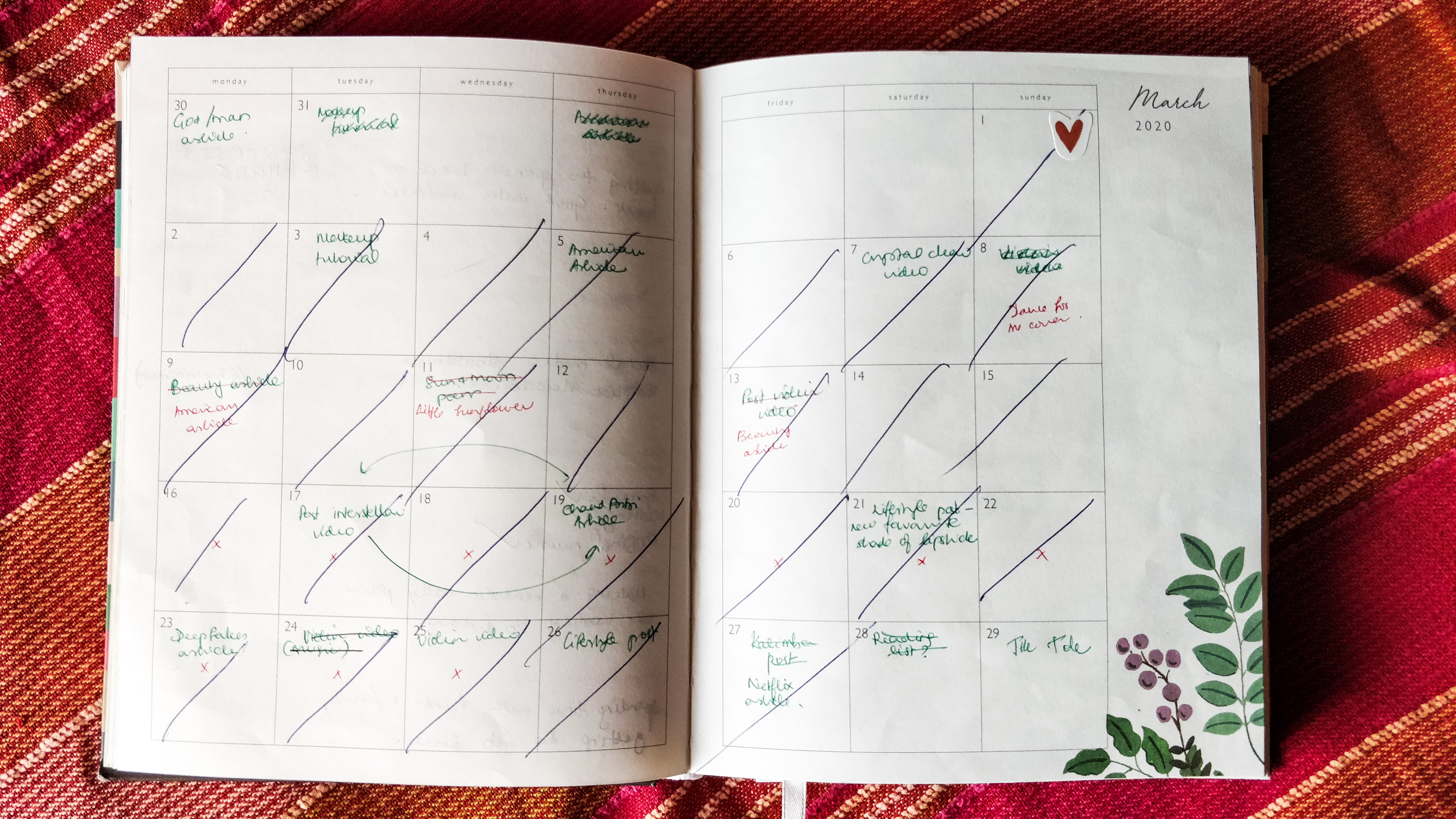 A glimpse at an old content calendar. It's ok for a plan to change, as long as you stick to it